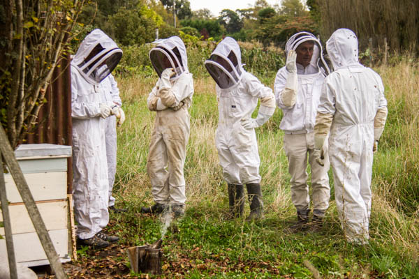 club members hanging round in their bee suits